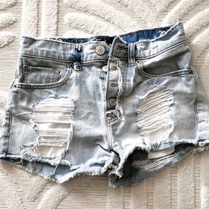 Express high waisted relaxed distressed jean short
